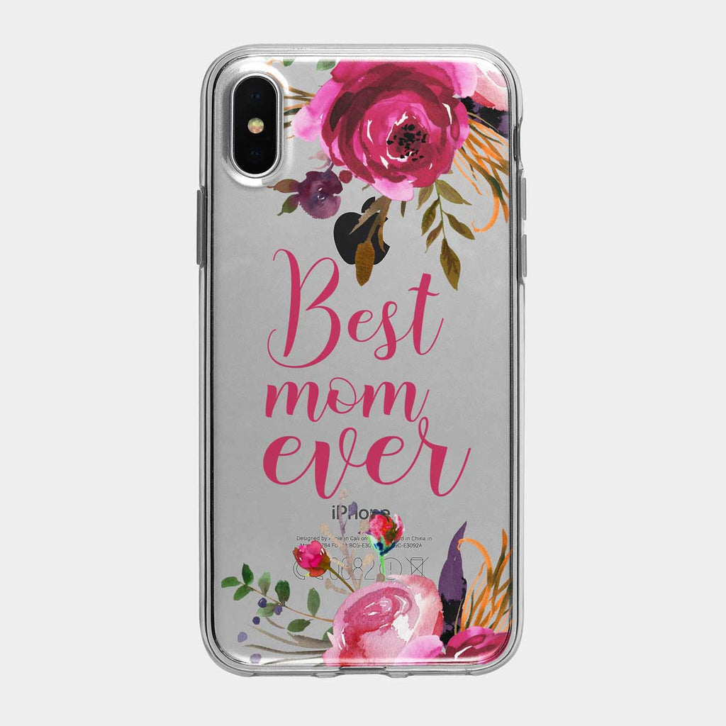 Best Mom Ever Rose Clear iPhone Case from Tiny Quail