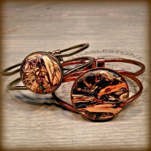 Black Tan Copper Tumblestone Hinged Bracelet From Tumblestone Jewelry