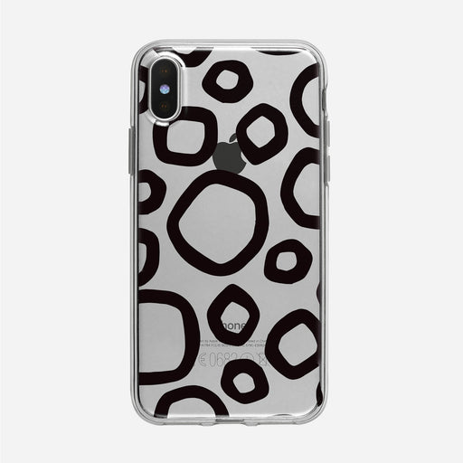 Funky Hand Drawn Black Circle Pattern Clear iPhone Case from Tiny Quail