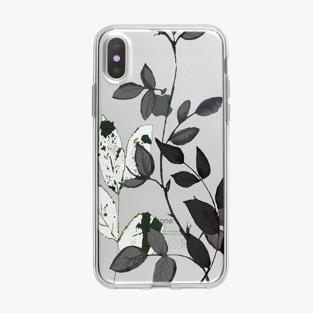 Black and White leaves art on a clear phone case background from Tiny Quail