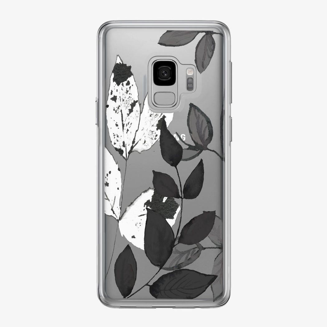 Modern Black and White Leaves Clear Samsung Galaxy Phone Case from Tiny Quail