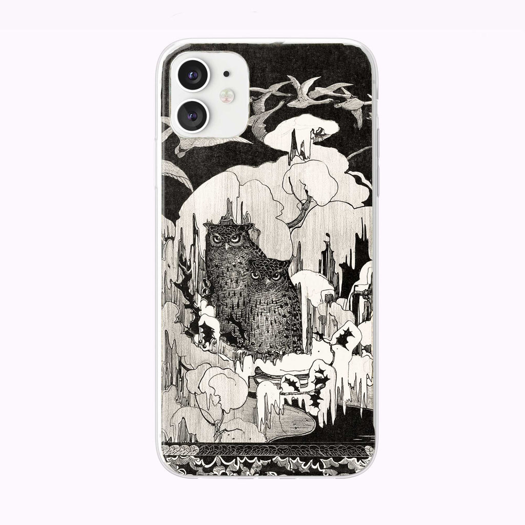 Vintage Black and White Icy Owls Forest iPhone Case from Tiny Quail