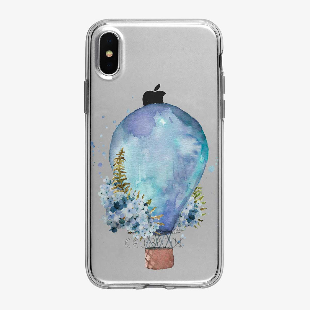 Blue Floral Hot Air Balloon Clear iPhone Case from Tiny Quail
