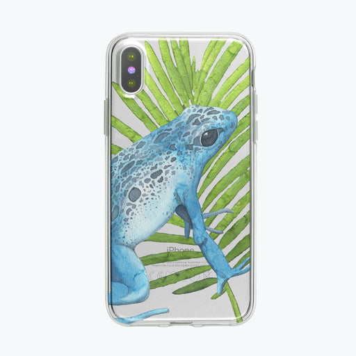 Blue Perky Frog iPhone Case by Tiny Quail