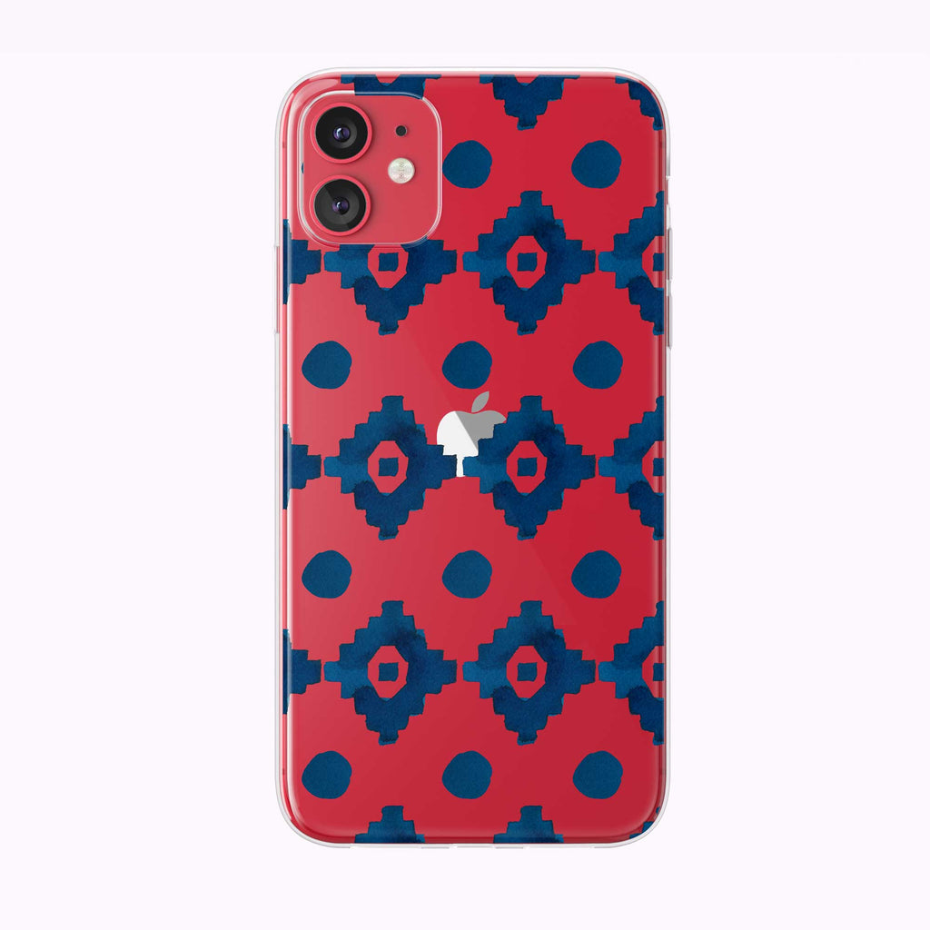 Blue Geo Pattern Red Clear iPhone Case from Tiny Quail