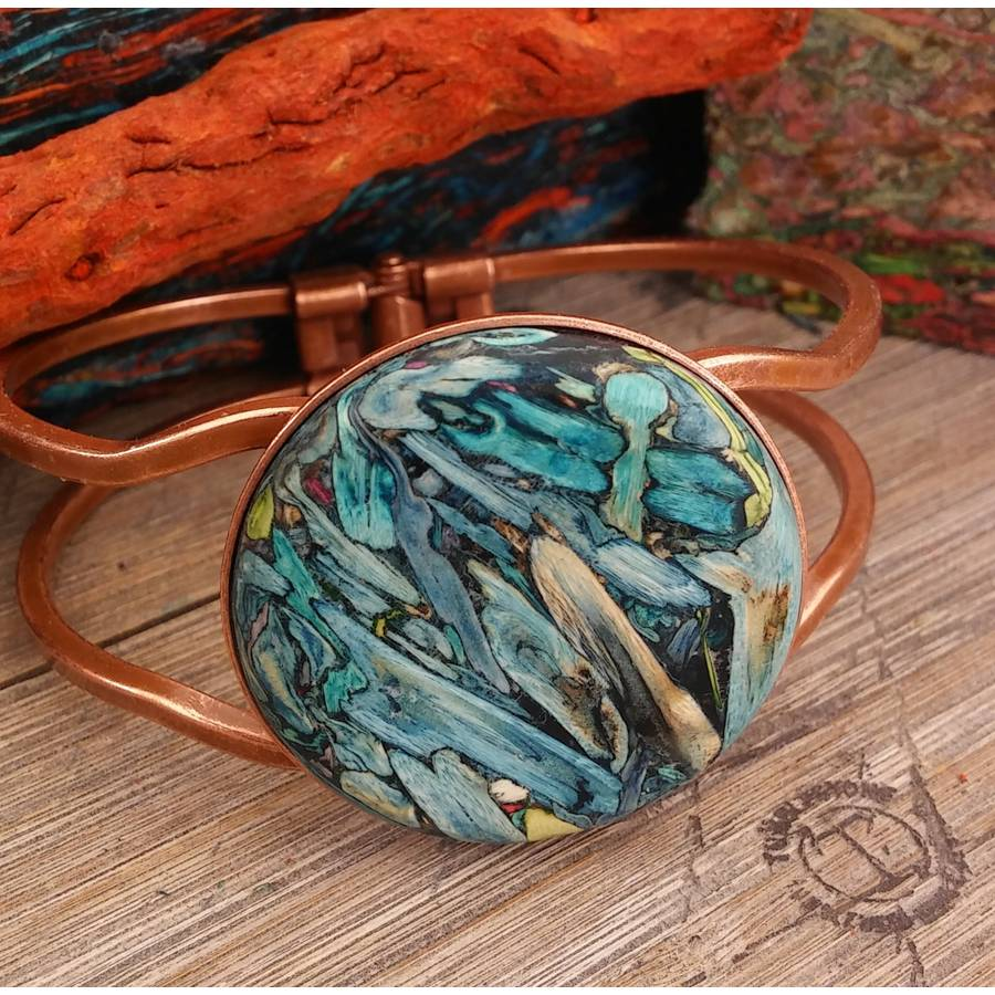 Blue Teal Copper Hinged Bracelet From Tumblestone Jewelry