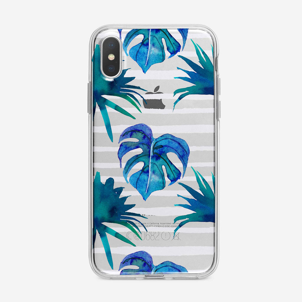 Blue Leaves Striped iPhone Case by Tiny Quail