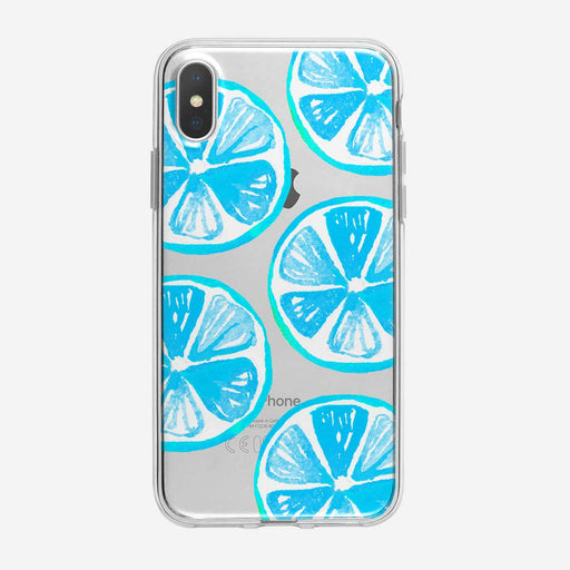 Large Blue Lemons Pattern Clear iPhone Case from Tiny Quail