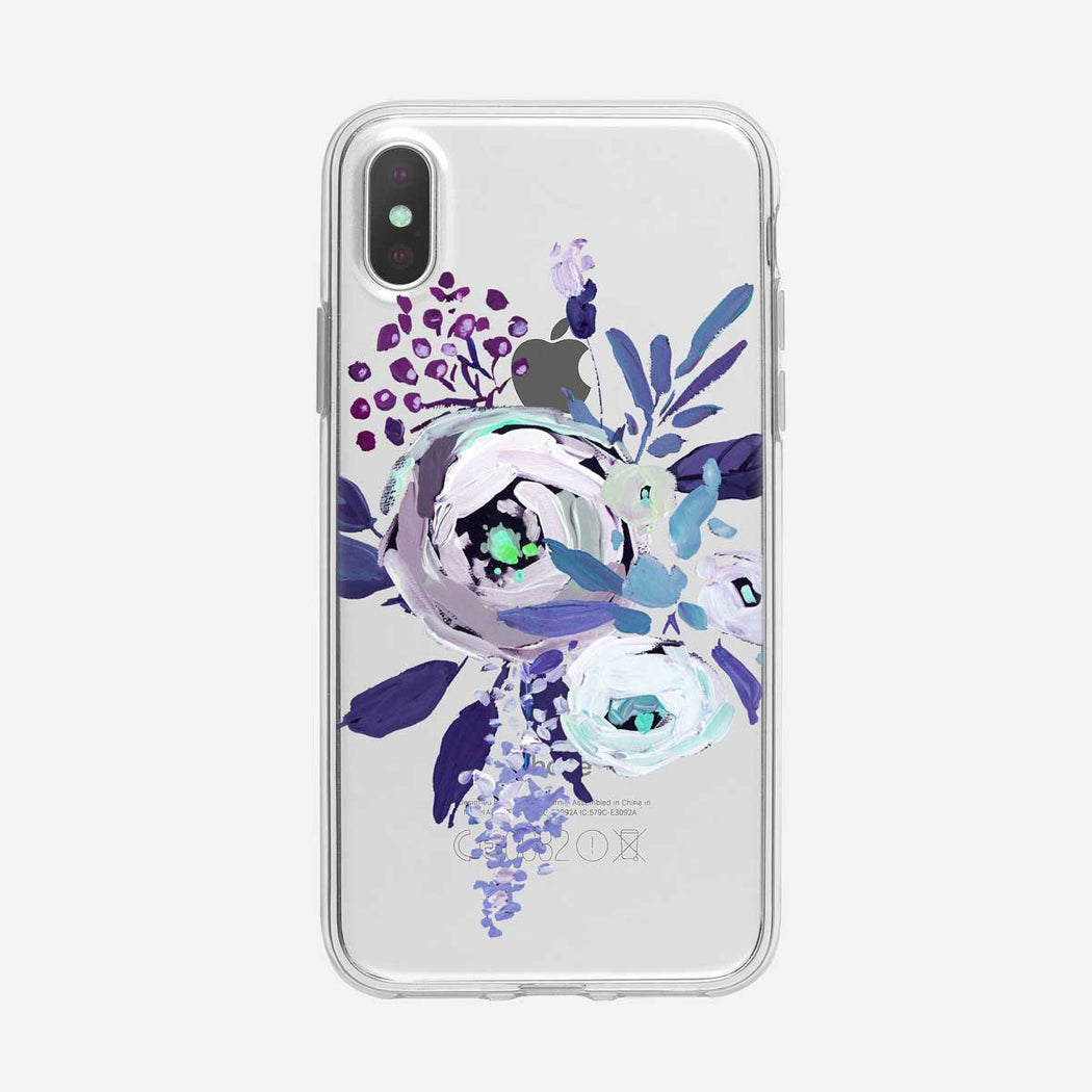 Blue Painted Flowers Clear iPhone Case From Tiny Quail