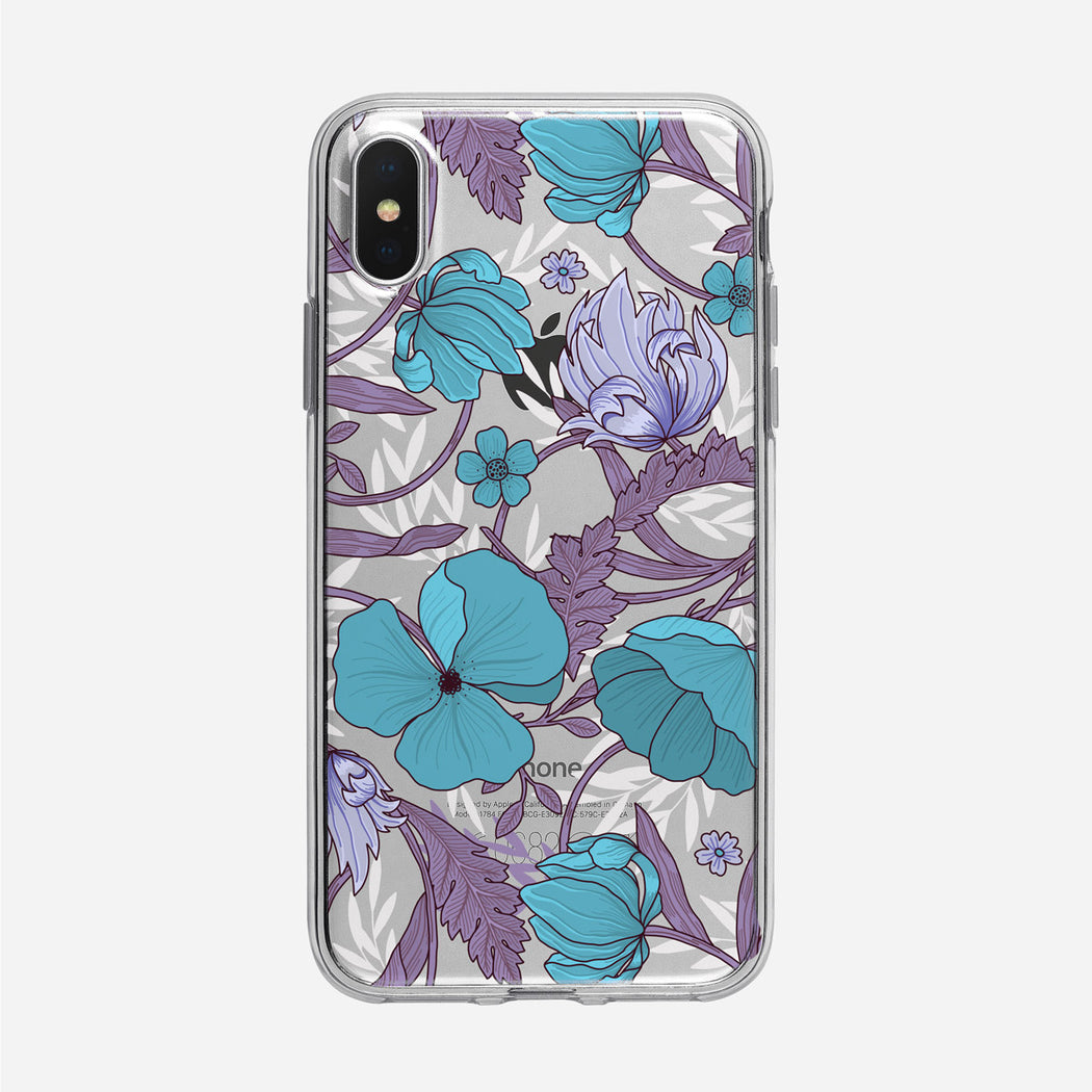 Art Nouveau Blue Floral Clear iPhone Case from Tiny Quail