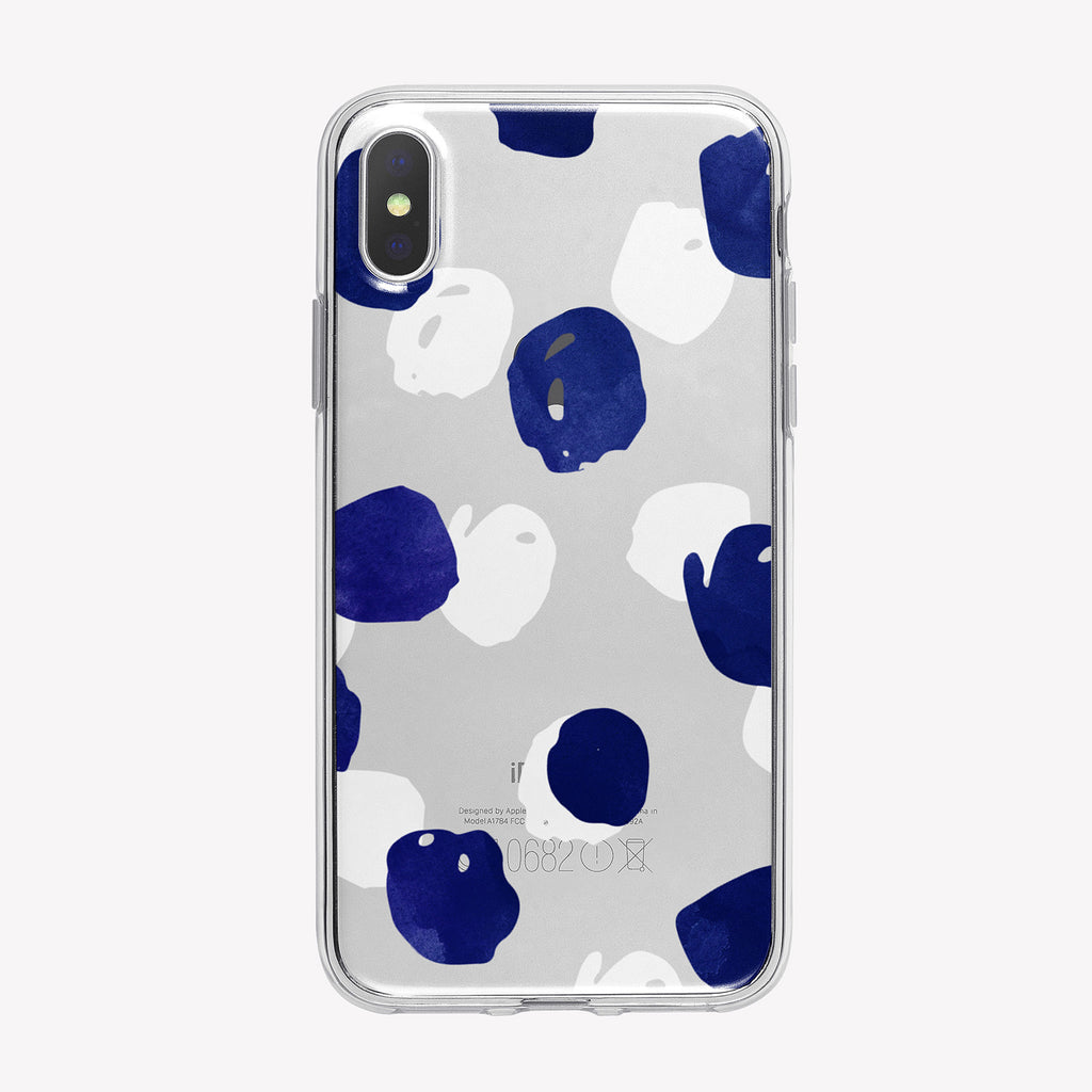 Large Blue and White Dots Clear iPhone Case from Tiny Quail