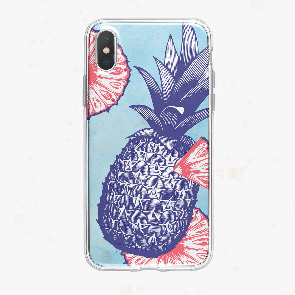 Blue Background Patriotic Pineapple iPhone Case by Tiny Quail