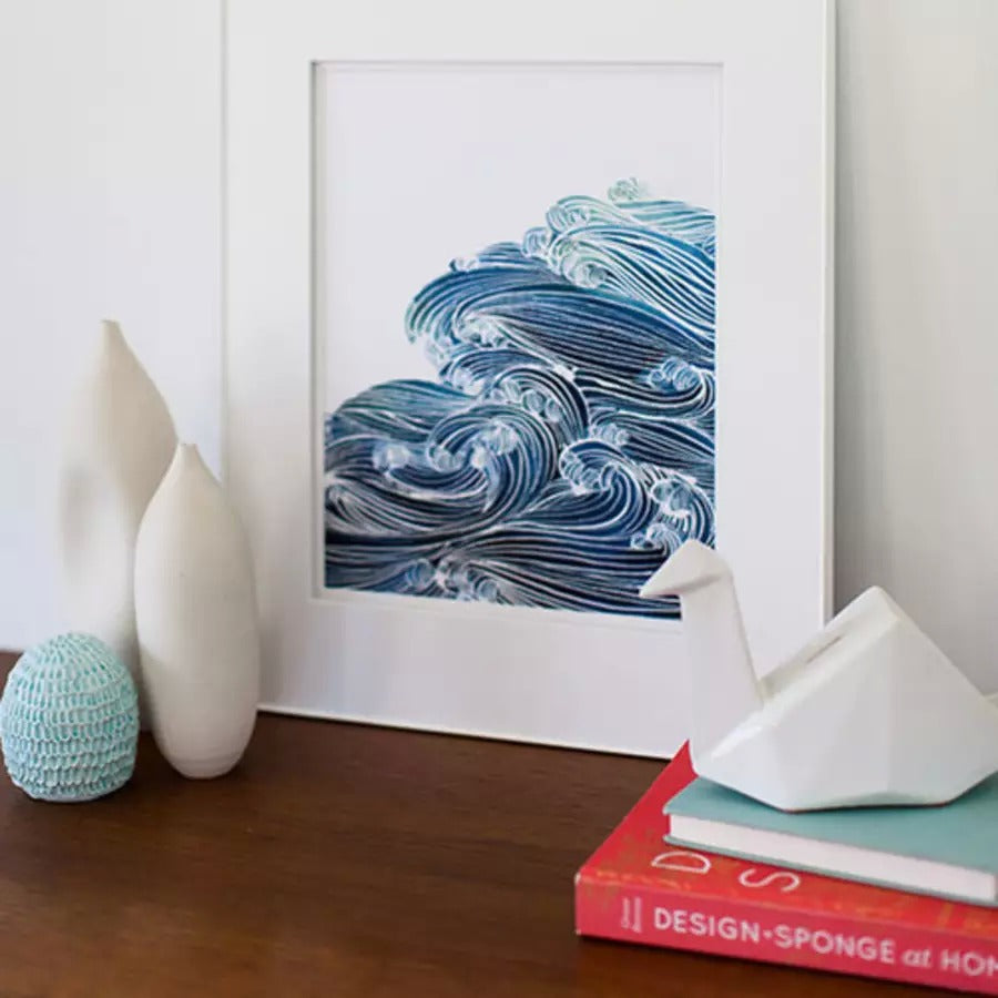 Ocean Waves in Blue Watercolor Archival Wall Art Print by Yao Cheng