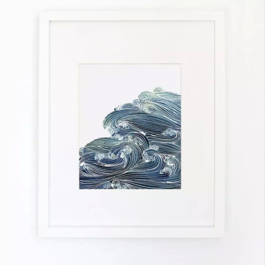 Ocean Waves in Blue Watercolor Archival Wall Art Print by Yao Cheng with frame