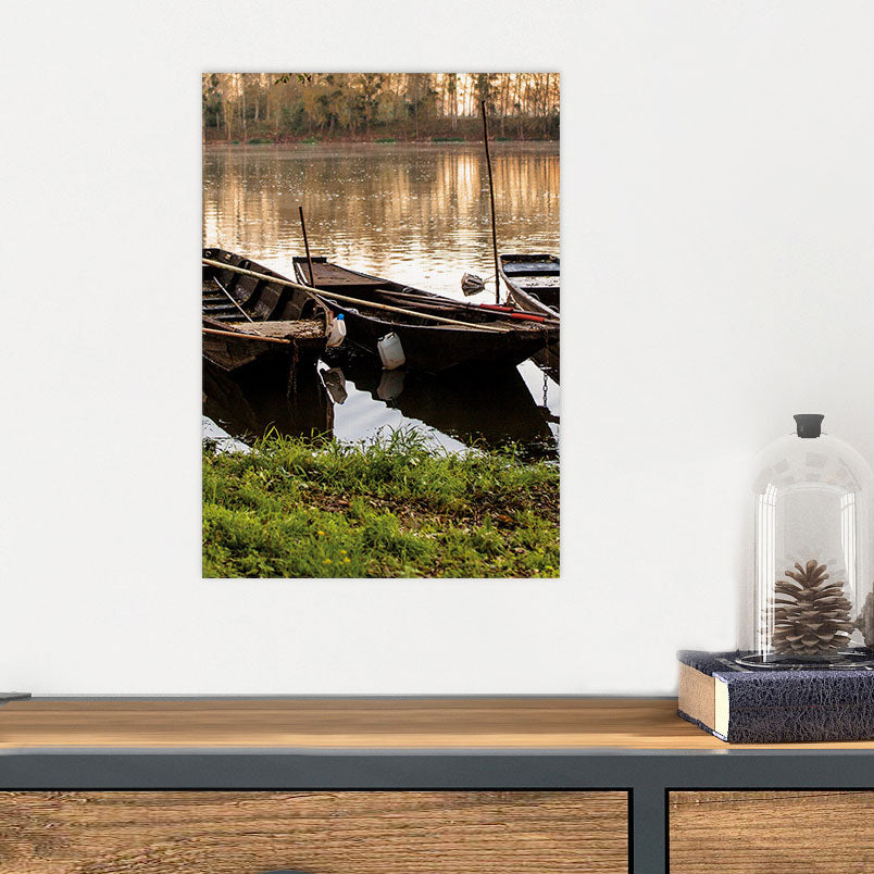 Vintage Boats in Canal Glass Photo Wall Art From Tiny Quail