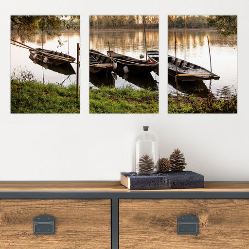 Boats in Glass Photo Wall Art Mural , 3 Pieces From Tiny Quail
