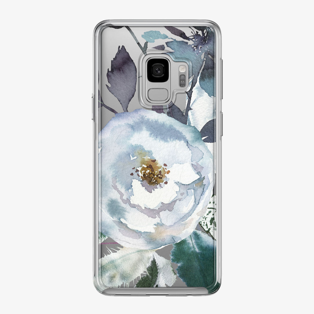 Boho Blue Large Flower Clear Samsung Galaxy Phone Case from Tiny Quail