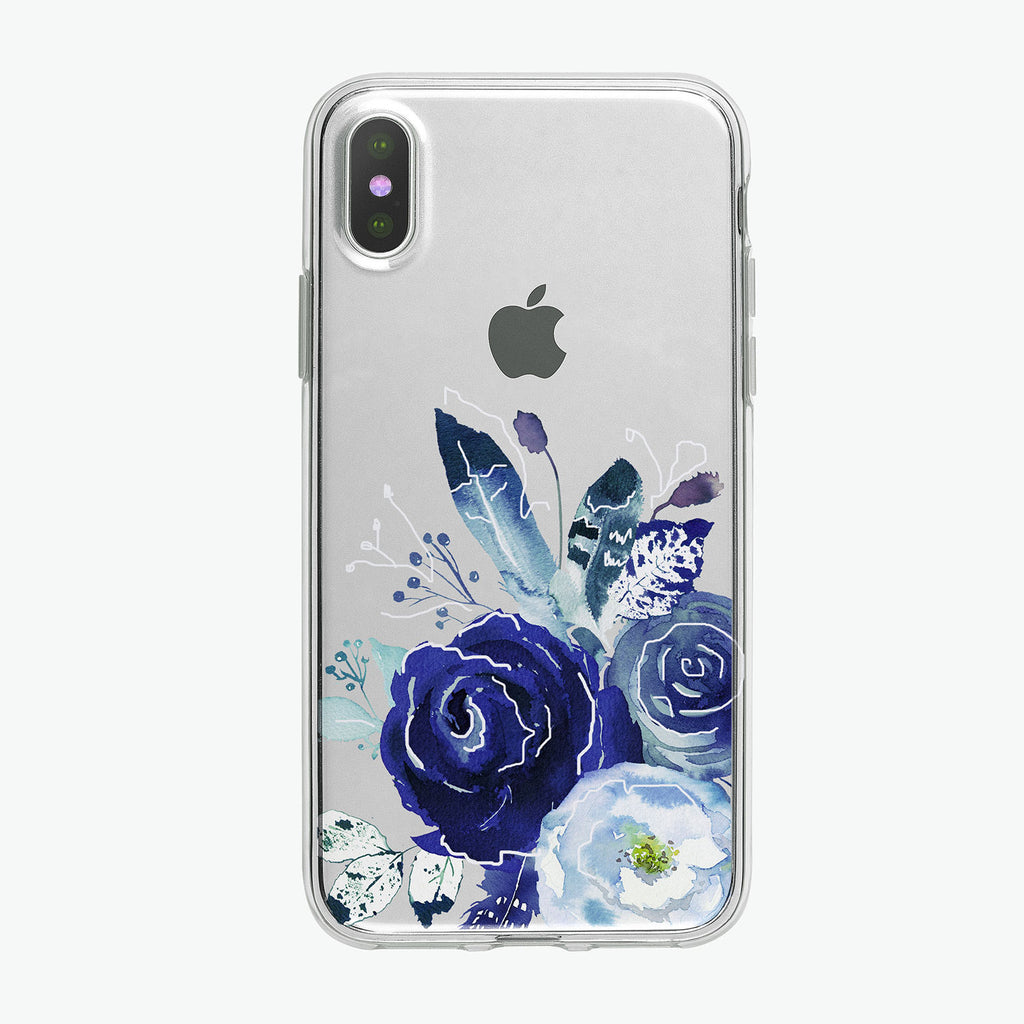 Boho Blue Flowers White Clear iPhone Case from Tiny Quail