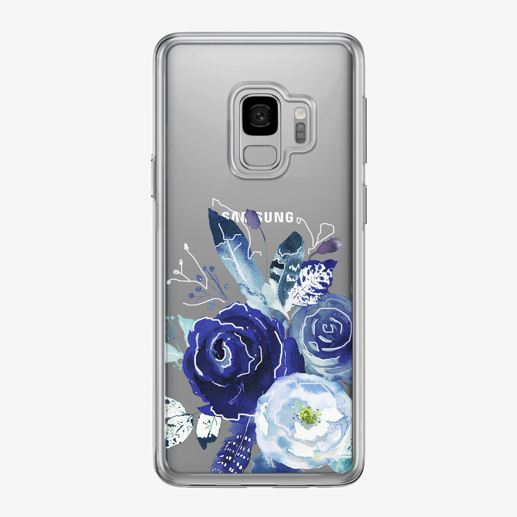 Boho Blue Flower White Clear Samsung Galaxy Phone Case from Tiny Quail