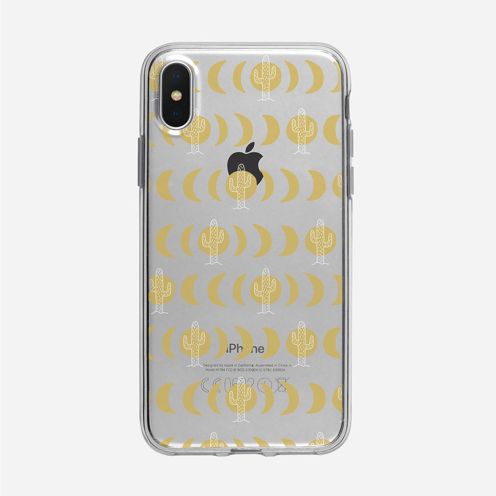 Cosmic Moon and Cactus Pattern iPhone Case from Tiny Quail