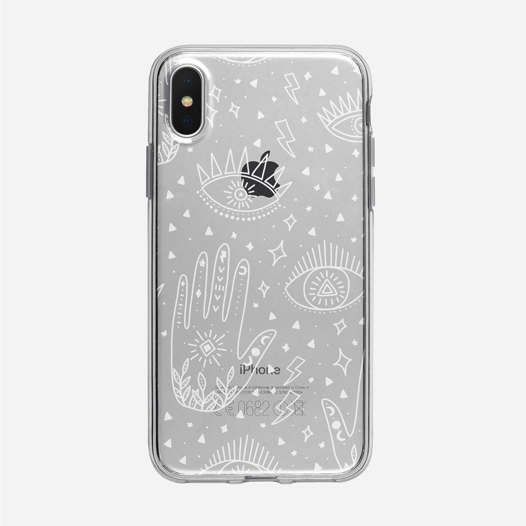 Cosmic Boho White Eyes and Palm Pattern iPhone Case from Tiny Quail