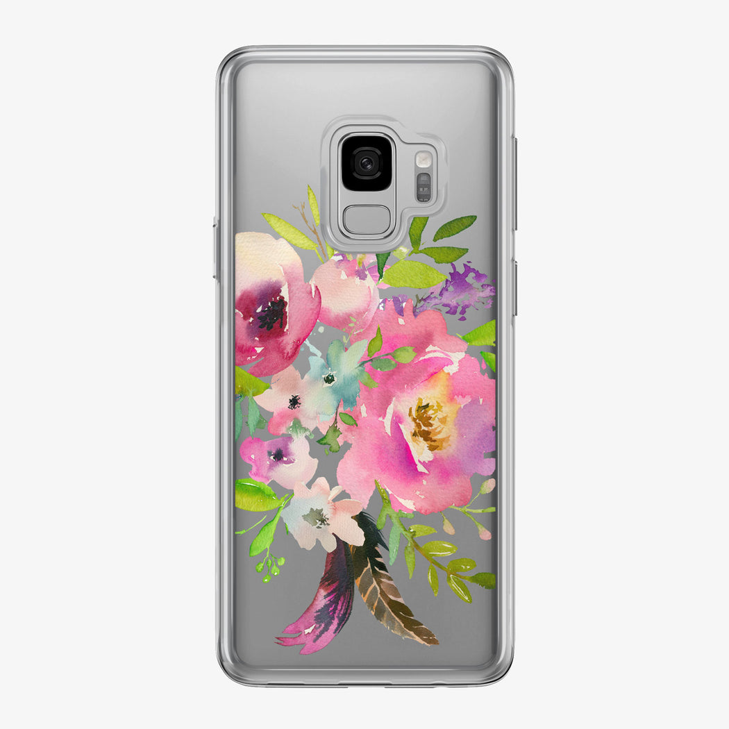Pink Floral Bouquet Clear Samsung Galaxy Phone Case from Tiny Quail