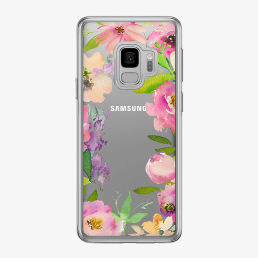 Pink Floral Framed Clear Samsung Galaxy Phone Case from Tiny Quail