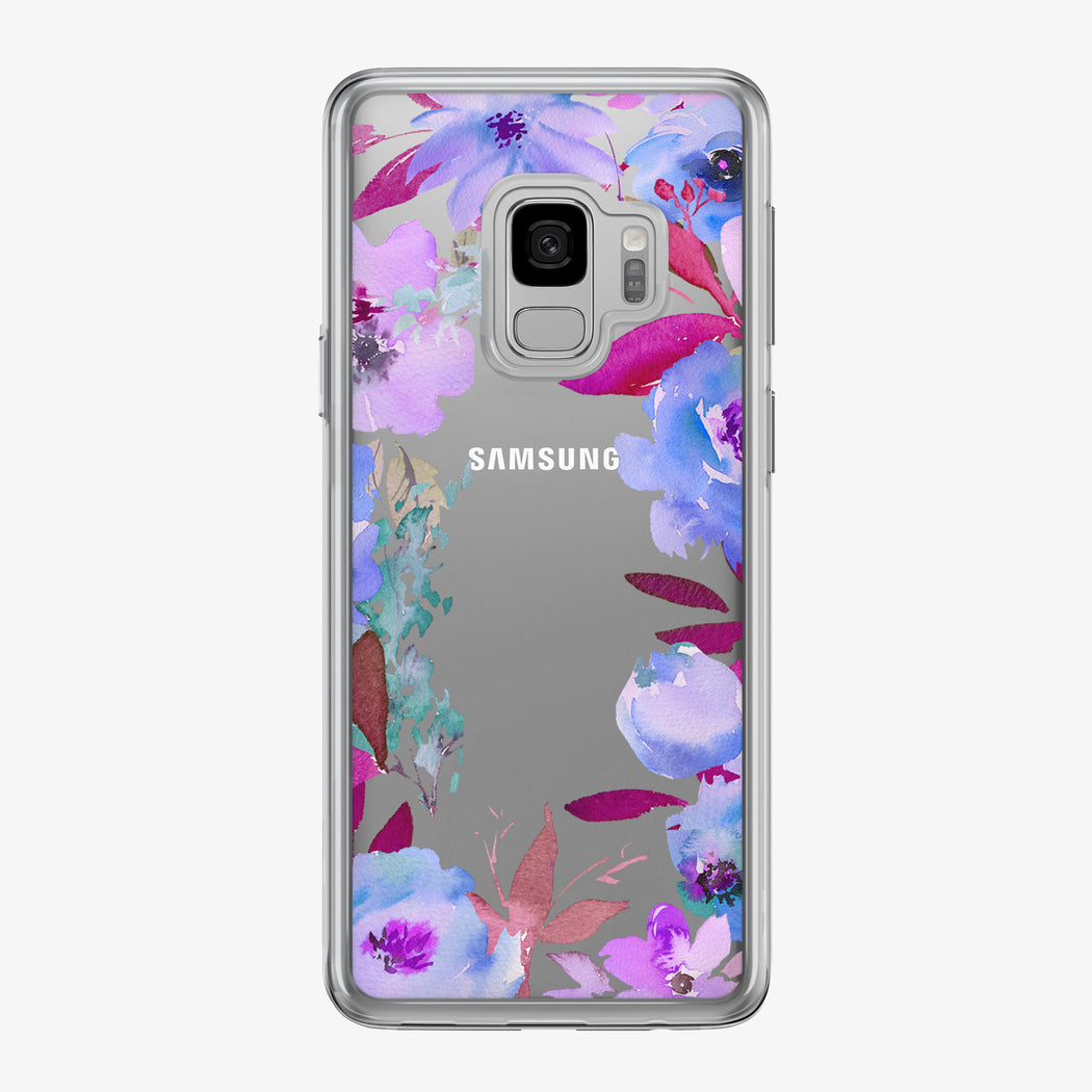 Purple Floral Framed Clear Samsung Galaxy Phone Case from Tiny Quail
