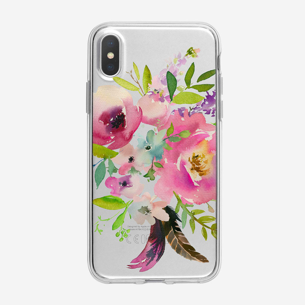 Watercolor Boho Bouquet Clear iPhone Case From Tiny Quail