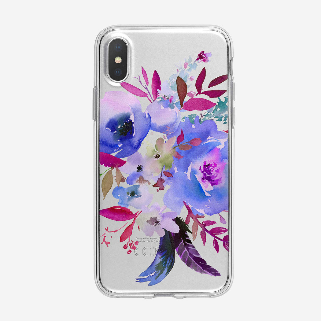 Bright Watercolor Bouquet Clear iPhone Case From Tiny Quail