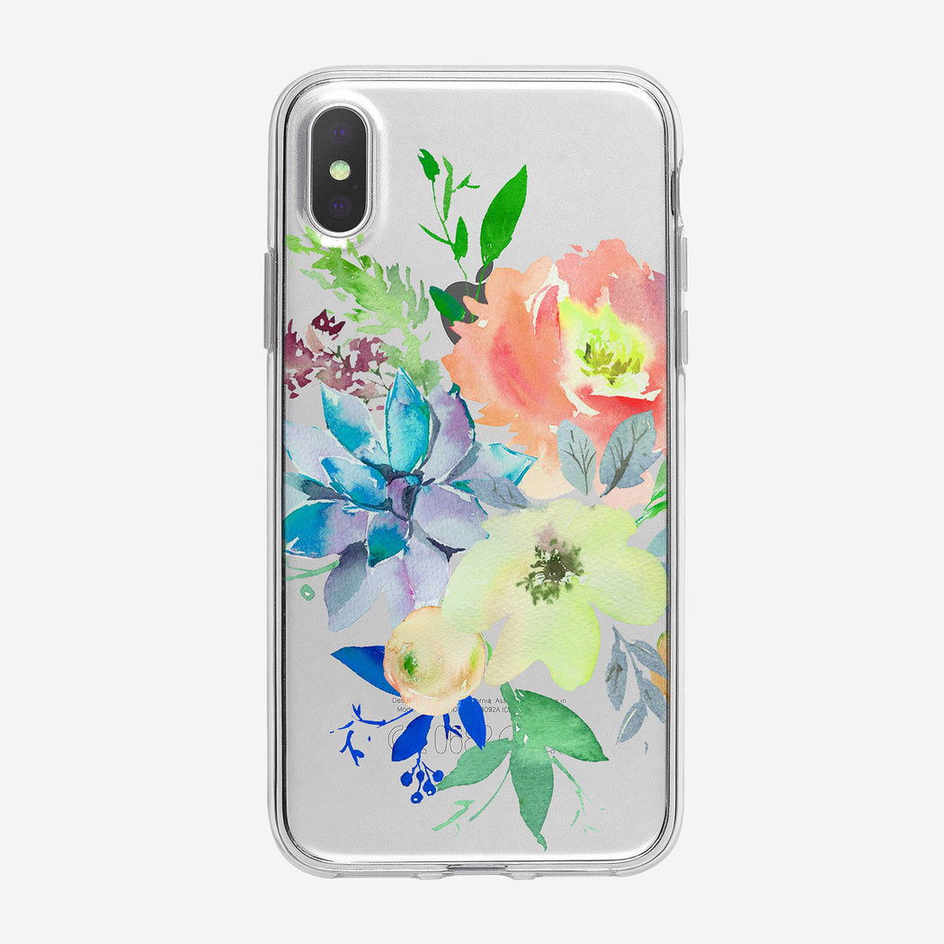 Watercolor Summer Bouquet Clear iPhone Case From Tiny Quail