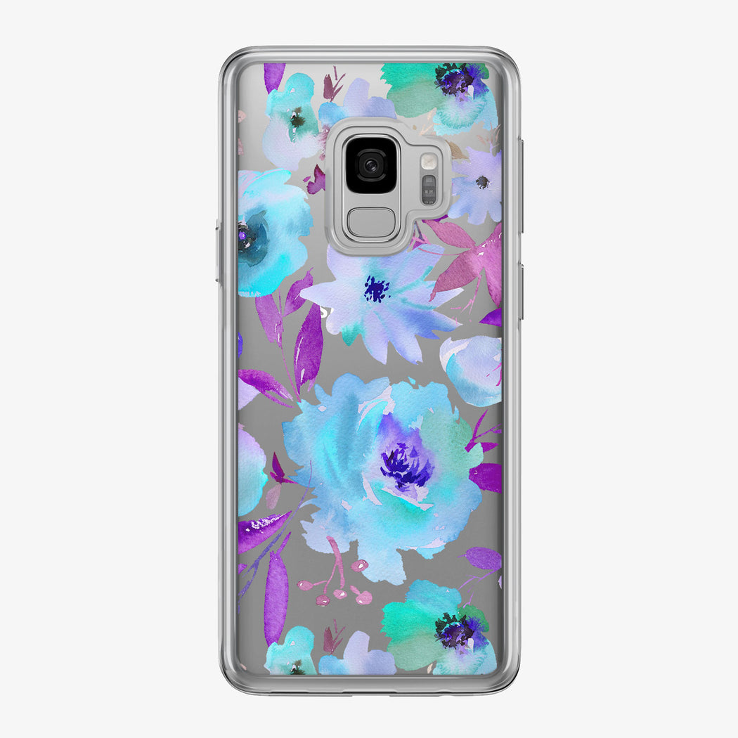 Lavish Blue Bouquet Clear Samsung Galaxy Phone Case from Tiny Quail