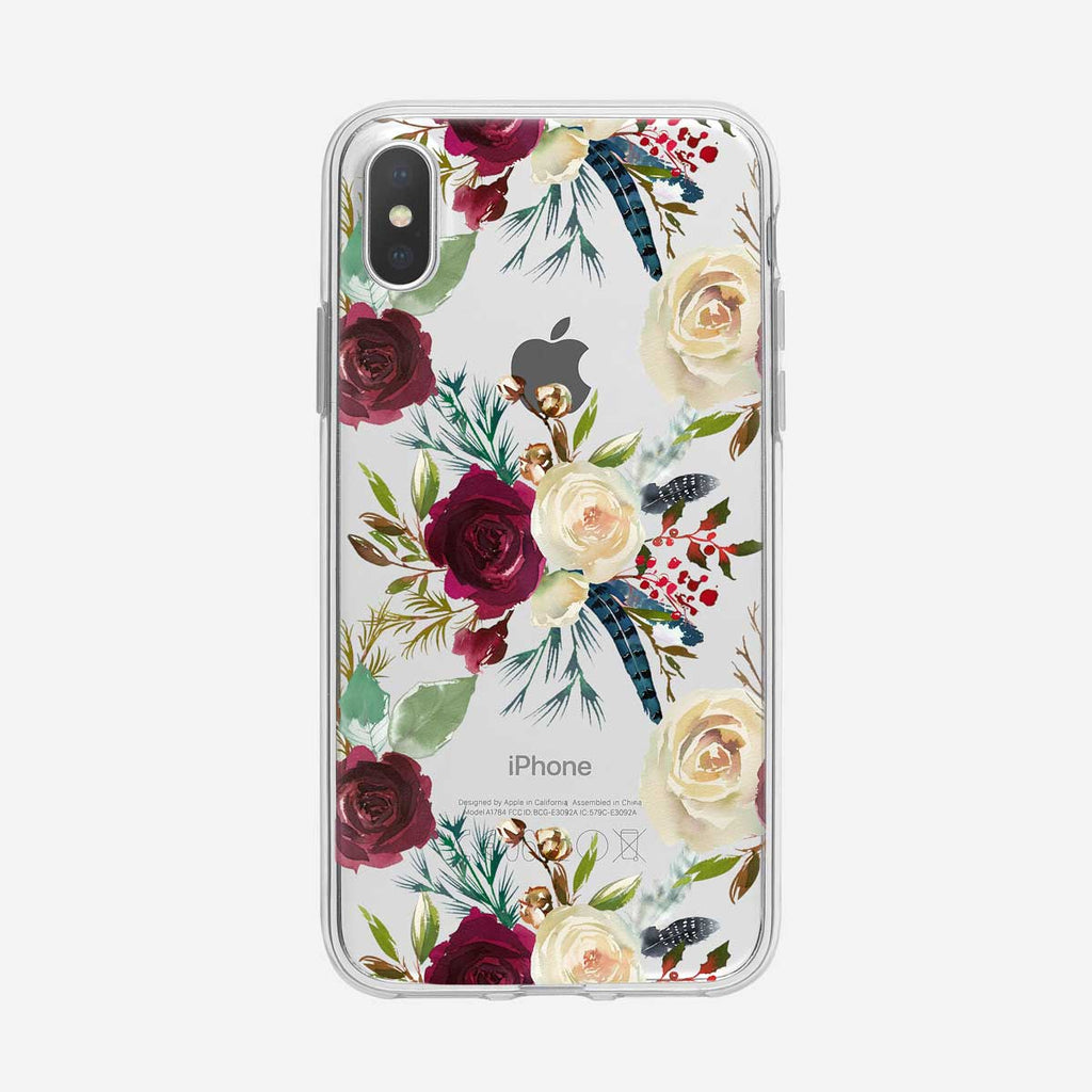 Boho Red and White Roses Clear iPhone Case from Tiny Quail