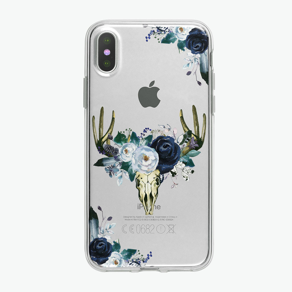Boho Steer Skull Clear iPhone case from Tiny Quail