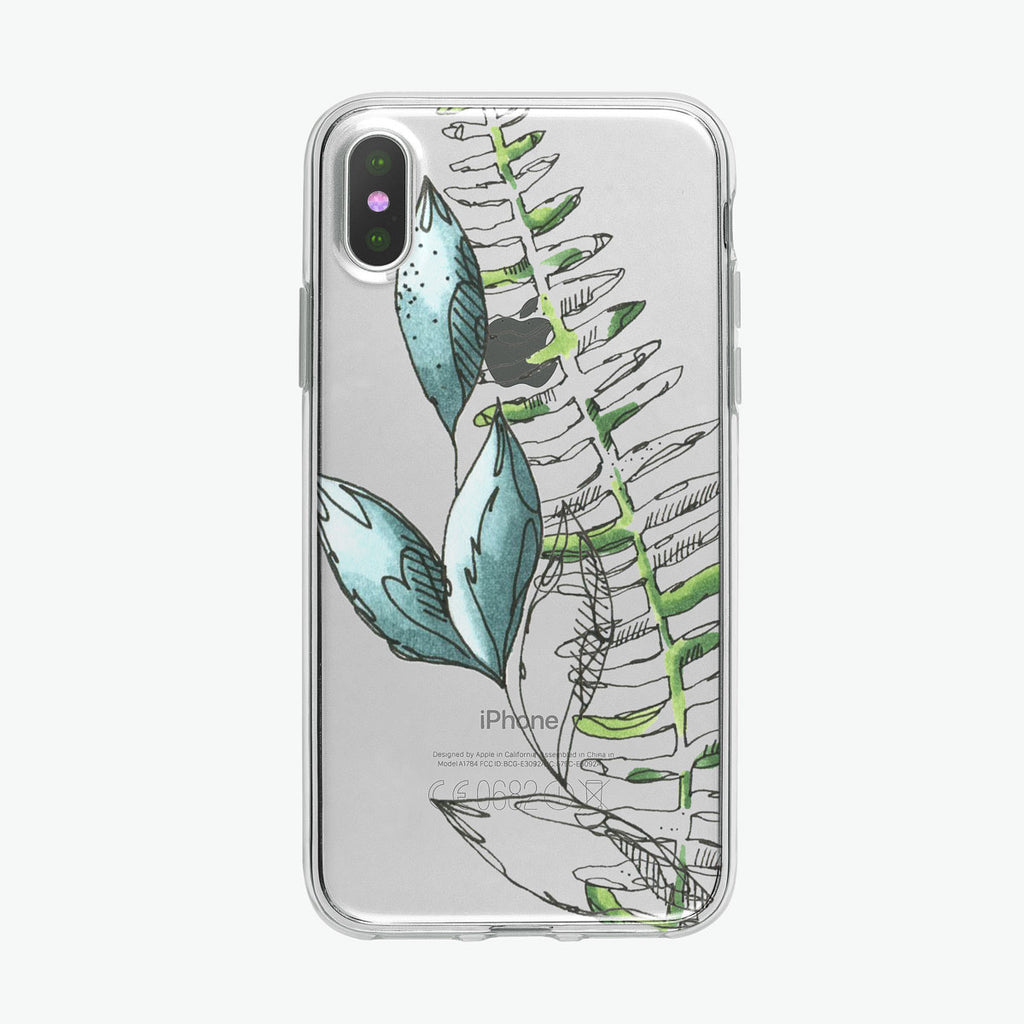 Blue Leaves Pen Botanical iPhone Case from Tiny Quail