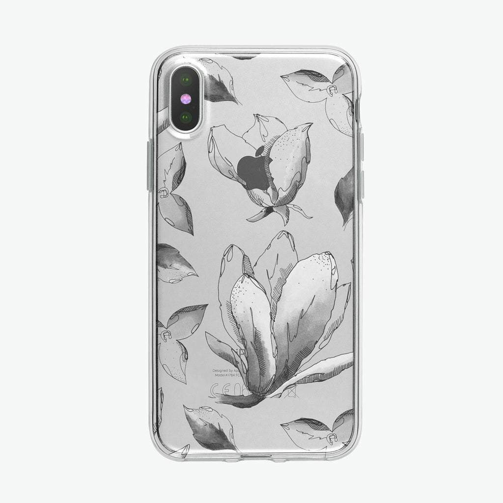 B&W Blossoms Pen and Ink Botanical iPhone Case from Tiny Quail