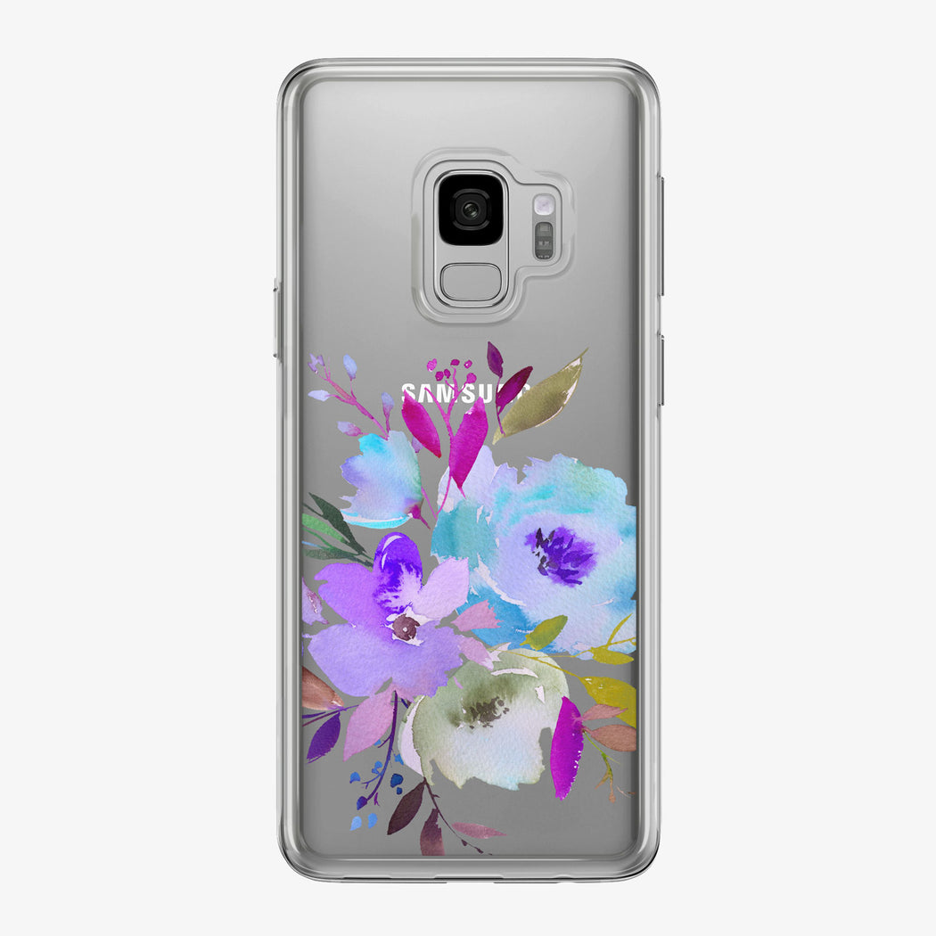 Purple and Blue Bouquet Clear Samsung Galaxy Phone Case from Tiny Quail