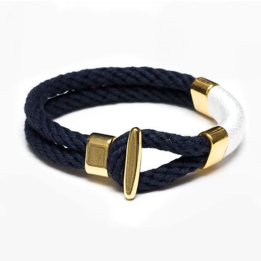 Camden Bracelet Navy, White, Gold by Allison Cole Jewelry