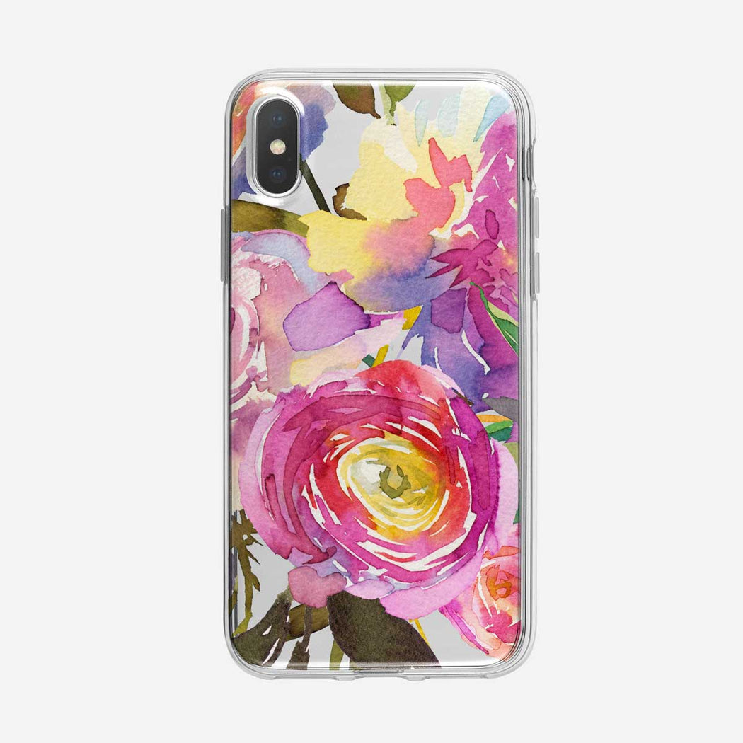 Bright Artistic Floral Clear iPhone Case From Tiny Quail