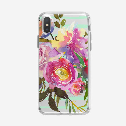 Bright Artistic Floral Striped Clear iPhone Case From Tiny Quail