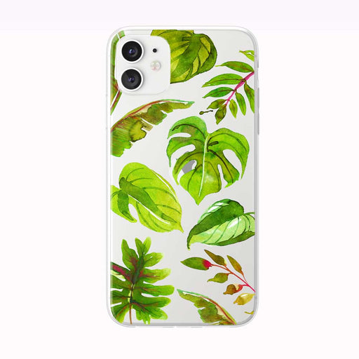 Bright Pink and Green Tropical Leaves iPhone Case from Tiny Quail