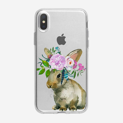 Cute Bunny Bouquet iPhone Case by Tiny Quail