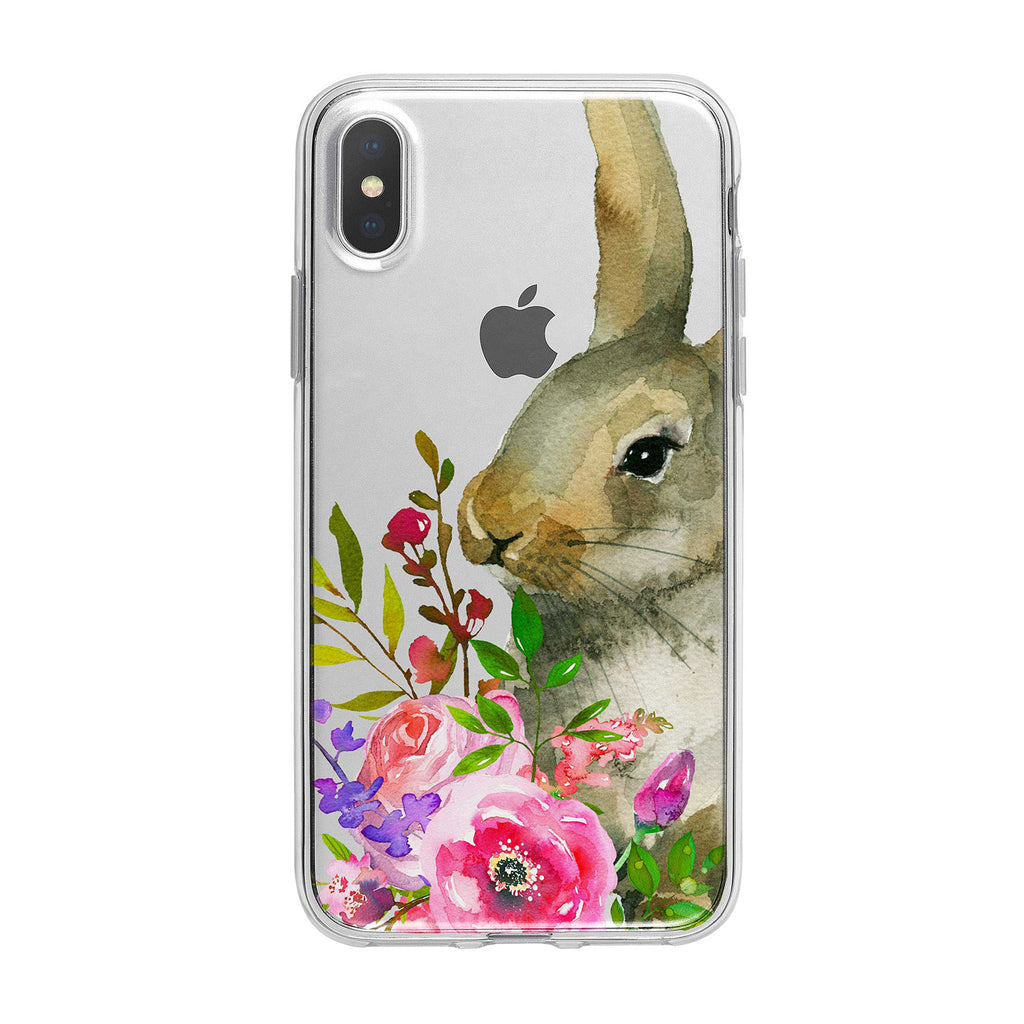 Adorable Bunny Bouquet Clear iPhone Case from Tiny Quail