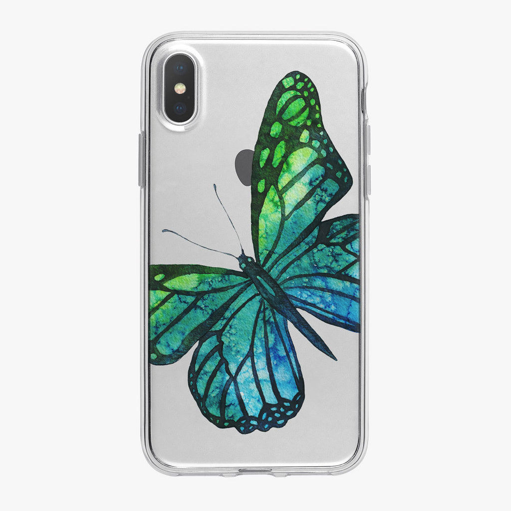 Bright Blue and Green Butterfly iPhone Case by Tiny Quail
