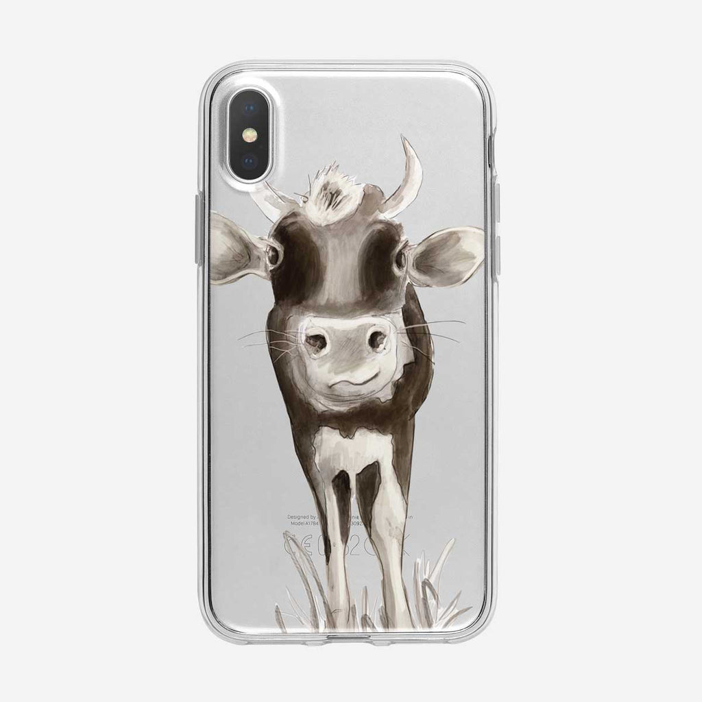 Black and White Cow Clear iPhone Case by Tiny Quail