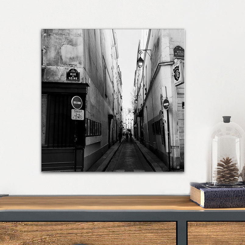 Black & White Paris Street Glass Photo Wall Art  From Tiny Quail