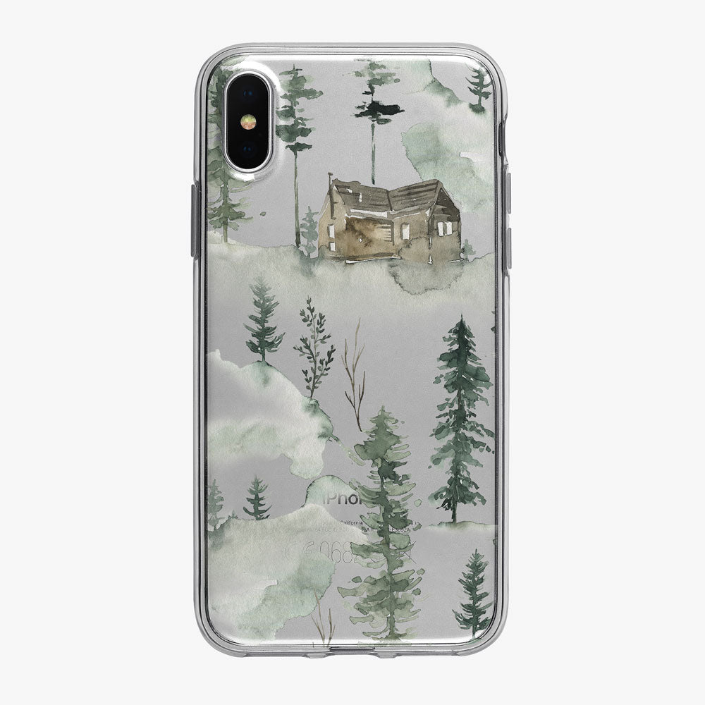 Cabin in the Cloudy Forest iPhone Case from Tiny Quail