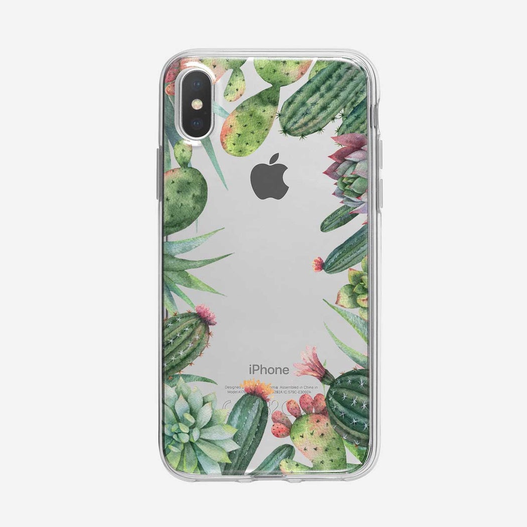 Prickly Cactus Frame Clear iPhone Case from Tiny Quail