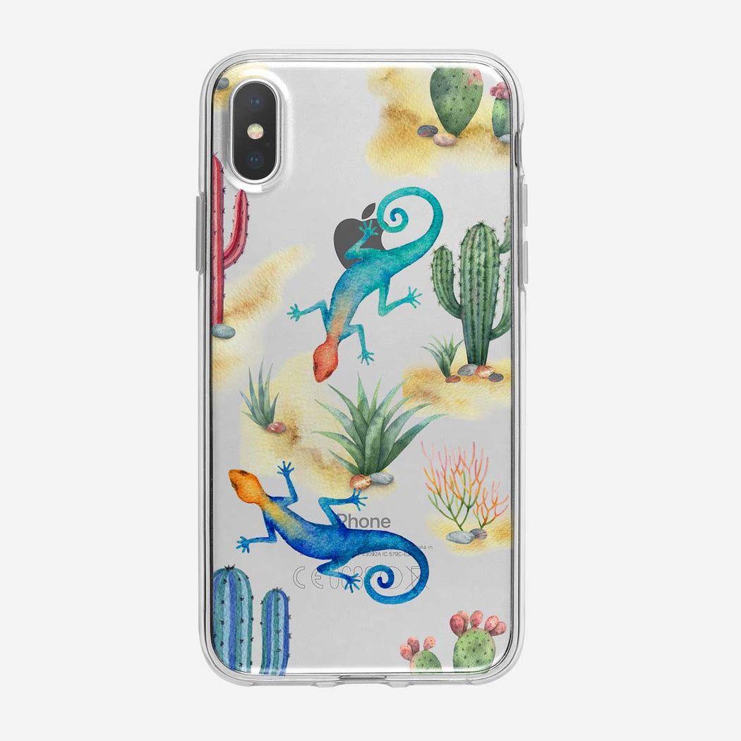 Vibrant Cactus Lizard Pattern iPhone Case from Tiny Quail