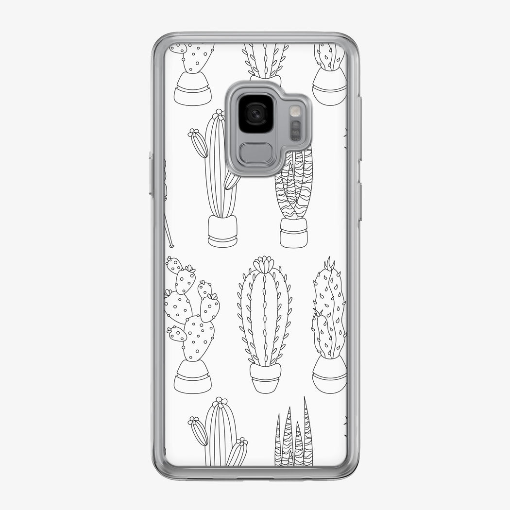 Black and White Cactus Pattern Samsung Galaxy Phone Case by Tiny Quail